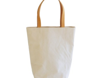 Natural Organic Canvas Cotton Day Tote  with Bridle Leather Straps