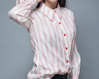 vintage 70s blouse top shirt white red stitched stripes long sleeves L LARGE