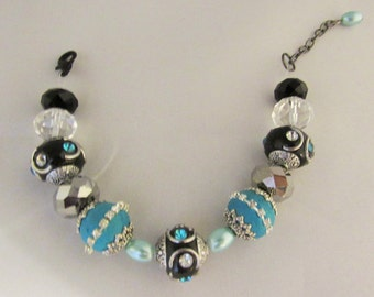 Blue and Black Glass Bead Bracelet