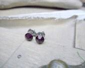 Little Sparklers© - Aubergine. Deep Purple Crystals & titanium post earrings. Darling petite crystal stud earrings. Hypoallergenic