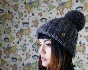 The Carisa in Dark Grey // Hand Knit Giant Pom Pom Beanie Cable Knit Soft Warm Cuff Slouch