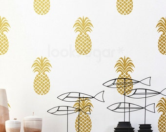 Large Pineapple Wall Decal . Gold Pineapple Decal with Wallpaper or Wall Stencil Effect - Baby Nursery Wall Decal- LSWP-AP0042TF