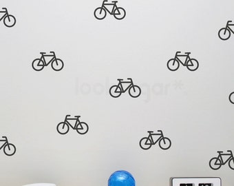 Bicycle Wall Decals with Wallpaper / Wall Stencil Effect . Bicycle Decals . Bicycle Stickers . Bike Wall Decals . AP0048TF