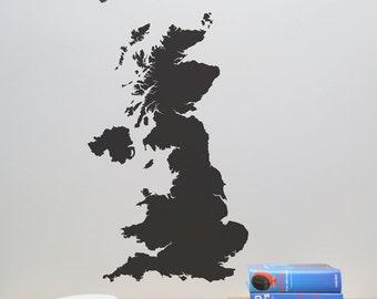 England Map Wall Decal - United Kingdom Map Decal - UK Wall Decal - Britain Map Decal - LSWD-0155TR