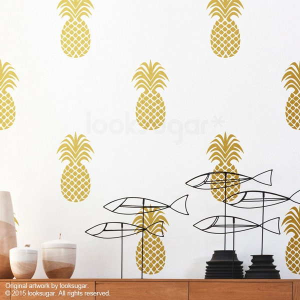 large pineapple wall decal gold pineapple decal with. Black Bedroom Furniture Sets. Home Design Ideas