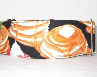 Pancake Martingale Dog Collar - 1.5 or 2 Inch - breakfast stack butter food strawberry banana syrup maple cooking kitchen fun