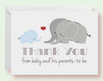 Set of 10 - Blue Elephant With Family Baby Shower Thank-You Cards