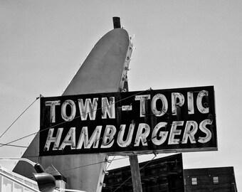 Kansas City Town Topic Hamburgers Sign - Fine Art Photograph Diner Cafe Vintage Historic 5x7 8x10 11x14 16x20 24x30