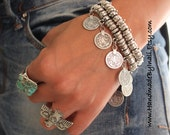 Boho Antique Silver plated bangle Bracelet/ Anklet with a replique Turkish coins ethnic Tribal adjustable stackable bracelet by Inali