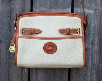 SALE - Vintage Dooney & Bourke Cream Bone White Leather Satchel Purse