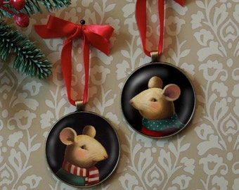 Christmas Ornament - Mouse Ornament - Christmas Mouse - Mouse Art - Vintage Mouse - Retro Mouse Ornament
