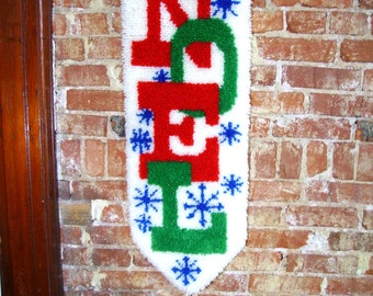 Noel Wall Hanging - Latch Hook - 1970s Christmas Decoration - Holiday Decoration