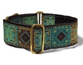 LAST ONE! - Turquoise and Chocolate Squares Jacquard Martingale Collar - 2 Inch