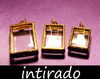 Intirado, Gold Pendant, Shadow Box Pendant Case, Reliquary, Terrarium Necklace, Marimo, Gold Metal, Lockets, Miniatures, Cameos, Photos, Art