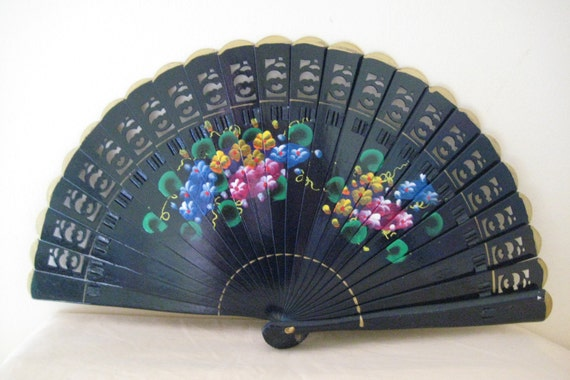 Regency/Victorian Style Fan. Brise. Navy Blue with Flowers. Hand Painted Wood