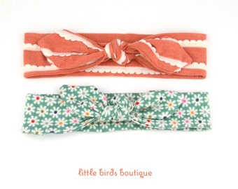 Top Knot Cotton Jersey Headband, Head Wrap, Tie Headband- for all ages Ruffles and Daisies