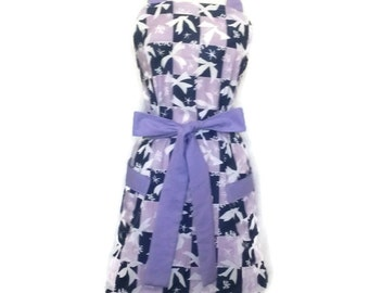 Purple Butterfly Apron with pockets, purple ties, Bridal Shower Gift, Cute Mother's day gift, Full Hostess apron for women, classic style