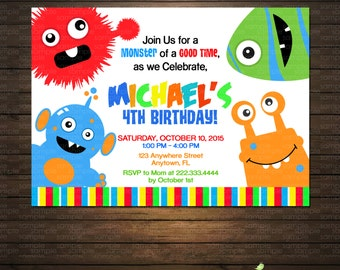 Monsters Birthday Party Invitations -  Printable File - Monster Bash