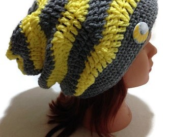Sunflower Hat, Chevron Slouchy Hat, Yellow and Gray, Slouchy Winter Hat, Sunflower Button, Hipster Beanie, Slouchy Hat Women Yellow and Grey