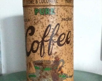 Antique Home & Colonial Coffee Tin/Can