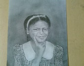 Original Pencil Drawing of Little Girl 10 x 12