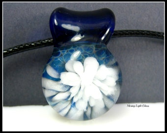 Beach Blue - Boro Glass Pendant - Glass Implosion Necklace - Small Round Borosilicate Glass Pendant