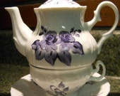 Tea for One Teapot Set  Hand painted Midnight Blue Roses