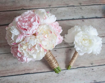 Wedding Bouquet Set, Peony Bouquet, Wedding Bouquet, Silk Bouquet, Rustic Bouquet, Blush Bouquet