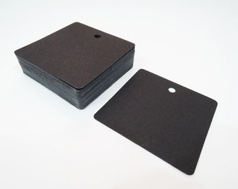 Black Paper Tags - 50pcs Black Tags Square Tag Price Tags Hang Tags Gift Tags Black Card Tag Plain Tags with Hole 6cm x 6cm