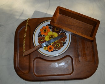 Price reduced! Vintage Wood Cheese Tray with Ceramic Floral Design, Knife, and Removable Cracker Tray