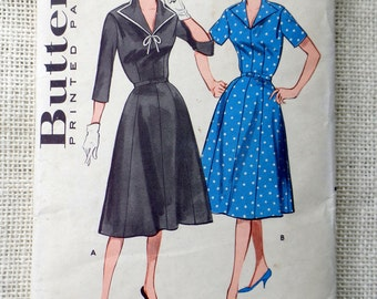 Vintage Pattern Butterick 9336 dress sewing Full skirt 1960s Rockabilly Bust 38 large Fit and Flare dress Fitted Bodice Retro