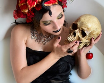 Flash Sale - Eve and the Serpant Headdress snake and red flower crown - garden of eden skull Dia de los Muertos Headband Headdress Fascintor