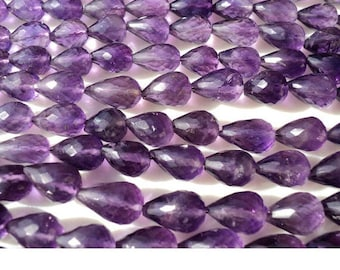 Amethyst Micro Faceted Tear Drop Beads, Faceted Gemstones, 6x9-7x13mm Each, Straight Drilled, 35 Pieces Approx