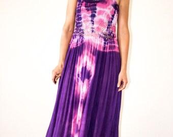 90s Crochet & Gauze Tie Dye Maxi Dress/// size S-M