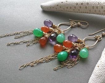 Colorful Gemstone Cluster Earrings, Amethyst Dangle, Gold Fringe Earrings, Chrysoprase Cluster, Boho Gemstone Earrings:  Ready to Ship
