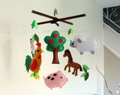 Customize Baby Mobile - Farm Theme Hanging Crib Mobile - Horse, Pig, Lamb, Rooster, Cow, Apple tree Nursery Mobile (Choose Your Color)