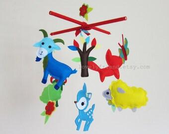 Customize Baby Mobile - Goat, Sheep, Ram Theme Nursery Crib Mobile (Choose your color)