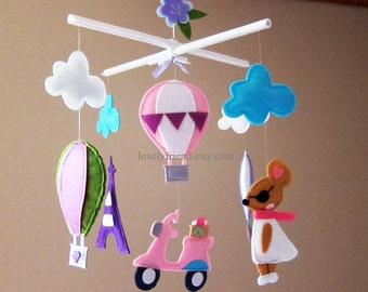 Customize Baby Mobile - Fashion Mouse in Paris Theme Nursery Crib Mobile - Eiffel Tower Nursery Hanging Mobile  (Choose your color)