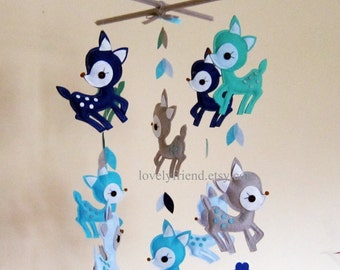 Customize Baby Mobile - Blue Deers Theme Nursery Crib Mobile - Blue Deers in The Jungle (Choose your color)