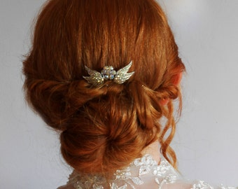 Small Sparkly AB Crystal Wings Bridal Comb Wedding - ONE of a KIND