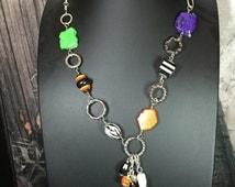 Halloween-Orange, Black, White, Green, Purple - Beaded Long Necklace