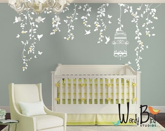 Hanging Vines Wall Decal For Baby Girl Nursery With Flowers, Birdcage,  Birds And Butterflies Part 60