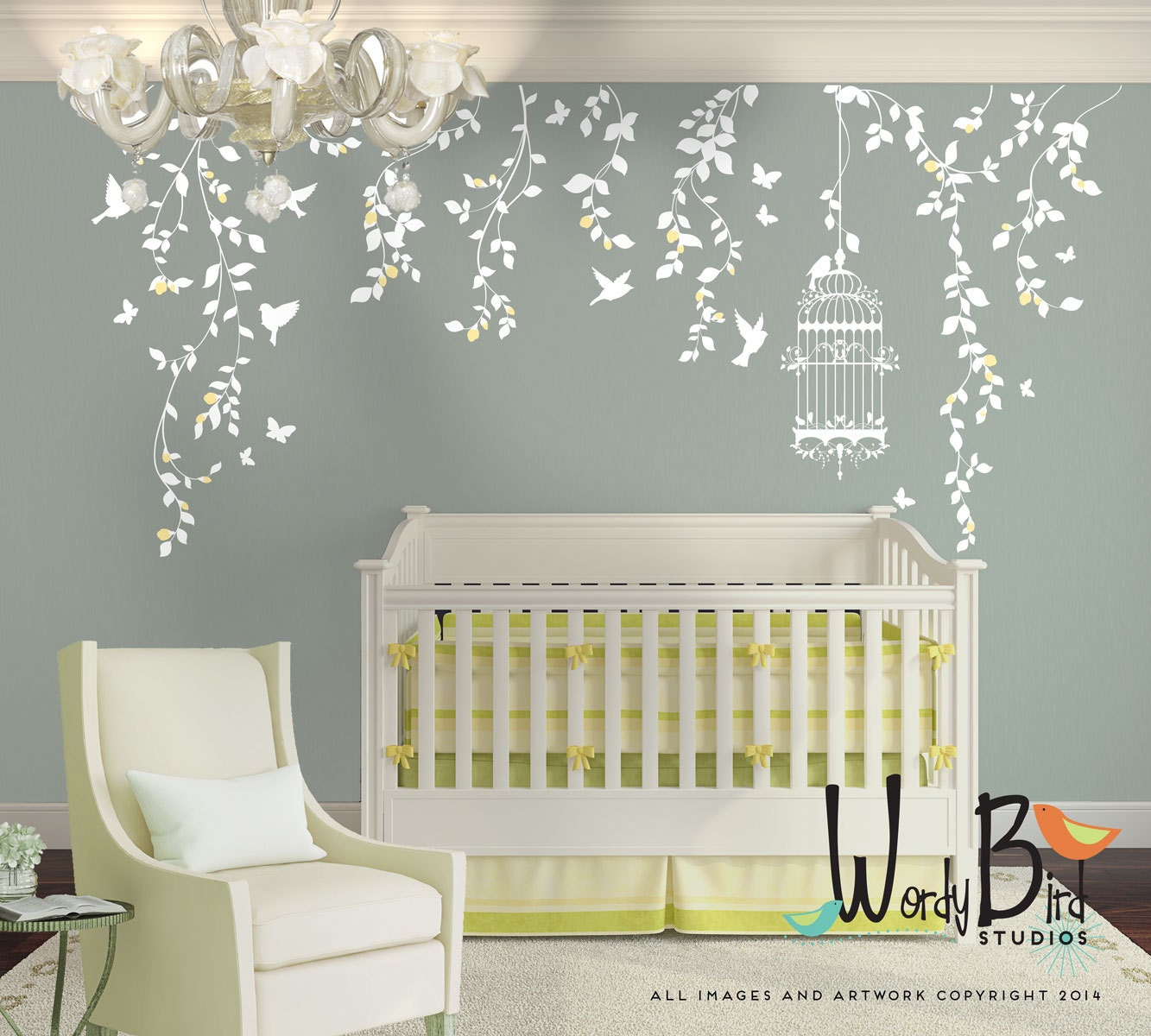 Hanging vines wall decal for baby girl nursery with flowers for Baby girl nursery mural