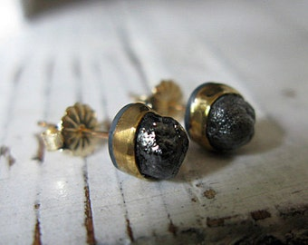 Raw Black Diamond Stud Earrings 14K Artisan Earrings Rough Diamond Unique Earrings Black Diamond Stud Earrings Post Earrings Gold Black