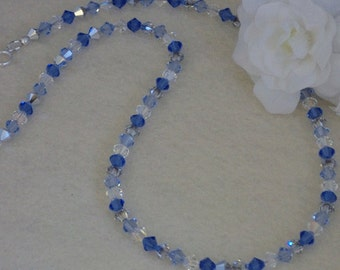Swarovski Crystal Beaded Necklace In Sapphire & Silver Gray   FREE SHIPPING