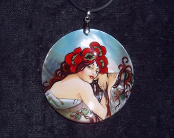 "Handpainted mother of pearl Necklace ""Summer Girl. Poppy"" by A.Mucha ART NOUVEAU pendant"