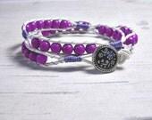 Leather Wrap Bracelet, Purple wrap bracelet Wrap Around, Womens Bracelet