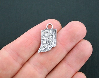8 Indiana State Charms Antique Silver Tone - SC4765