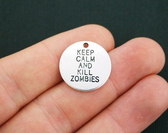 4 Kill Zombies Charms Antique Silver Tone - SC3427