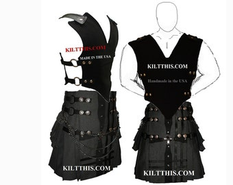 Interchangeable Black 10oz Canvas Vest plus Grey Fleece Gear Kilt Set with Large Expanding Cargo Pockets